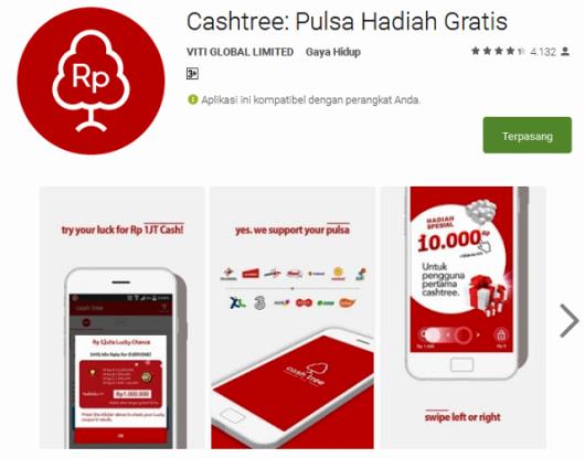 Aplikasi Jawab Kuis Dapat Pulsa Gratis Cash-Tree