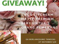 Giveaway Berhadiah 5 Pcs Lipcream Matte Premium BErl dari Bhananjaya.berl