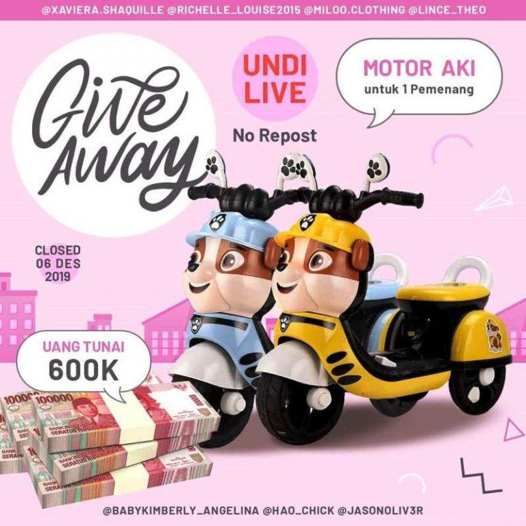 Giveaway Gratis Berhaidh Uang Tunai dan Motor Aki dari Hao chick